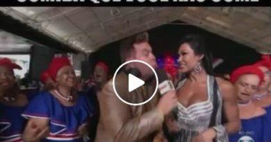 VÍDEO - Gracyanne Barbosa finge comer pizza na TV e viraliza