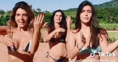 Assista Giovanna Lancellotti, irmã e mãe fazem dancinha de biquíni na web. Está fazendo sucesso entre os famosos