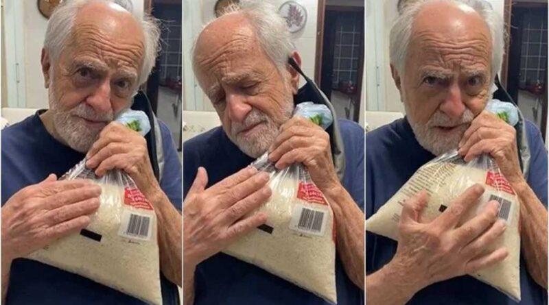 """Ary Fontoura abraça saco de arroz e se declara: """"Resolvi me apaixonar"""""""