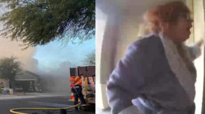 Enfermeira salva família de casa pegando fogo pouco antes de telhado desabar e imagem viraliza nas redes sociais