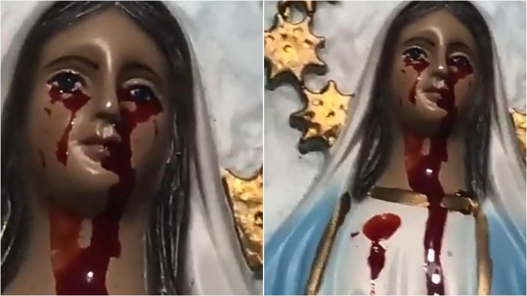 Em meio a PANDEMIA imagem de Nossa Senhora chora sangue em Arealva-SP; ASSISTA AO VÍDEO.