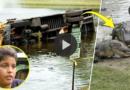 Ônibus com 27 crianças cai em um lago cheio de jacarés e garoto de 10 anos deixa bombeiros impressionados por conseguir salvar todos