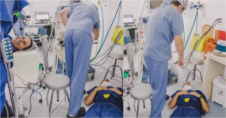Vídeo: pai desmaia no parto e enfermeiros não se seguram e entram na gargalhada; imagens viralizam na internet